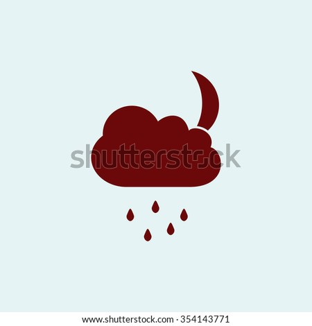 Moon Red flat icon. Simple illustration pictogram - stock photo