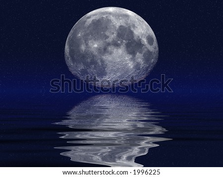 Moon reflected in clear night ocean waters