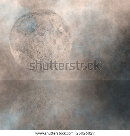 Moon Rise over water - stock photo