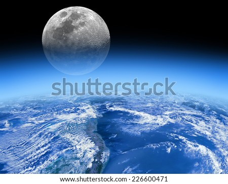 Moon rising behind the Earth's atmosphere. No stars. Elements of this image furnished by NASA.