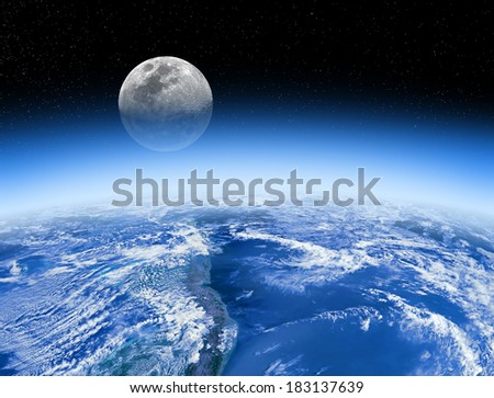 Moon rising behind the Earth's atmosphere. Small stars are in background. Planet furnished by NASA/JPL.  - stock photo