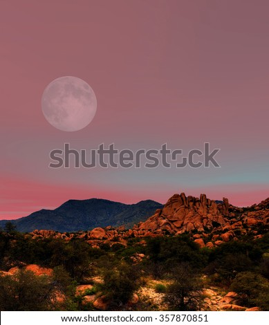 Moon rising Sonora desert in central Arizona USA