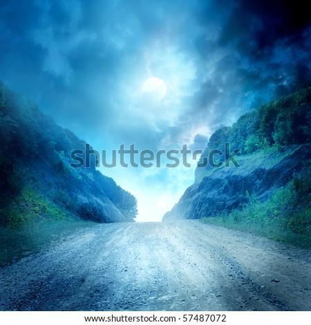 Moon road - stock photo