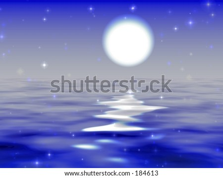 Moon road digital background . Good base background for fantasy graphics. - stock photo