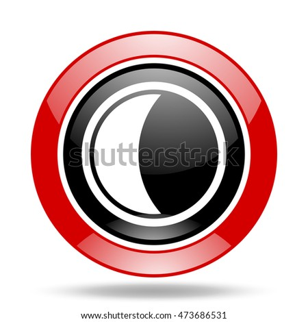 moon round glossy red and black web icon