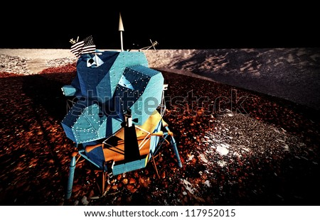 Moon rover on alien planet - stock photo