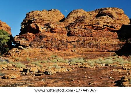 Moon set at Kings Canyon,  Northern Territory, Australia - stock photo