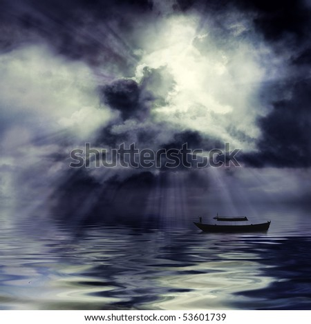 Moon shining through dark clouds over water and boat, atmospheric background