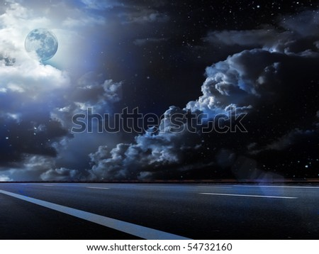 Moon  sky  clouds  road - stock photo