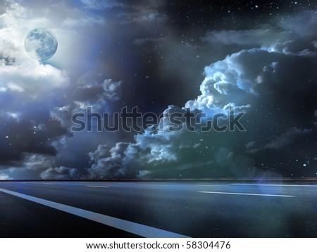 Moon  sky  clouds  road   fog - stock photo
