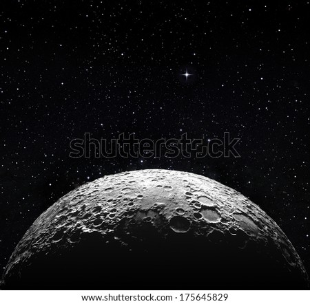 moon surface in space - stock photo