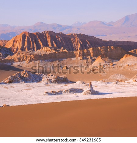 Moon valley in Atacama desert at sunset time, Chile.