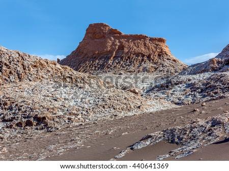 Moon Valley in Atacama Desert near Pedro de Atakama at sunny day - Chile, South America - stock photo