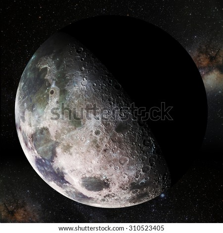 Moon view. Elements of this image furnished by NASA. - stock photo