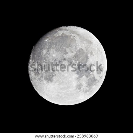 Moon (Waxing Gibbous), 13 days from new moon - stock photo
