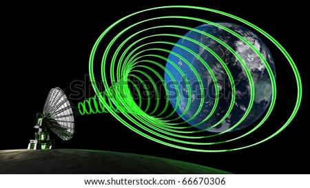Moon with big satellite dishes antenna (Doppler radar) Earth Blue Marble picture courtesy of NASA .3d render - stock photo