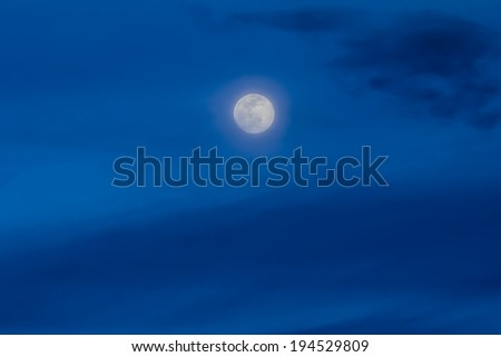 moon with blue cloud - stock photo