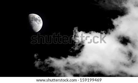 moon with cloud background - stock photo
