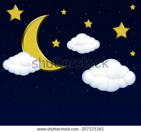Moon with clouds in the night sky  - stock photo