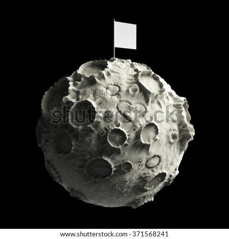 Moon with craters and heart scratched on surface and blank flag on top. High quality 3d rendering. Isolated. - stock photo