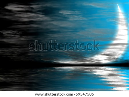 Moon with reflection at sea