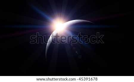Moon with Rising Sun 2 - stock photo