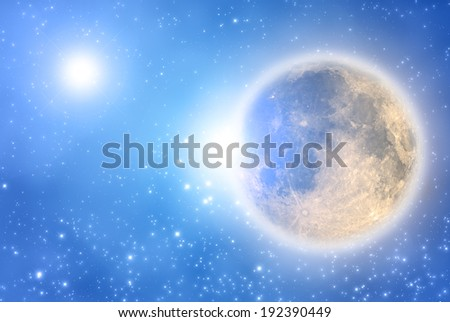 Moon with supernova in the background. - stock photo