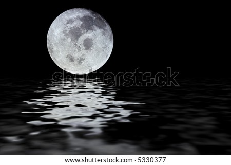 Moon with water reflection isolated over a black space background