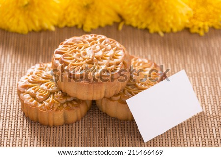 Mooncake and tea,food and drink for Chinese mid-autumn festival. Chinese famous food, gift for chinese in mid-autumn festival - stock photo
