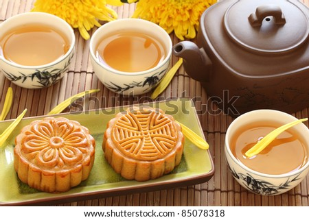mooncake and tea for Chinese mid autumn festival