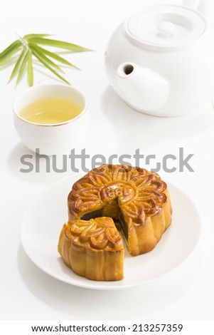 Mooncake and tea,Viet Nam and Chinese mid autumn festival food.( Banh Trung Thu) - stock photo