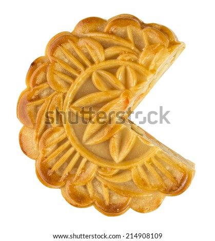 Mooncake ,Chinese mid autumn festival food isolated on white - stock photo