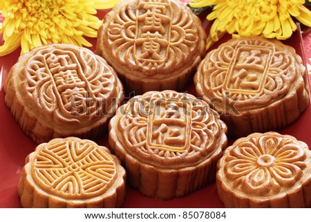 mooncake for Chinese mid autumn festival - stock photo