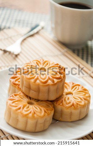 mooncake , traditional chinese foods during mid autumn festival - stock photo