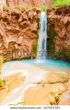 Mooney Falls, Havasupai Indian Reservation, Grand Canyon - stock photo