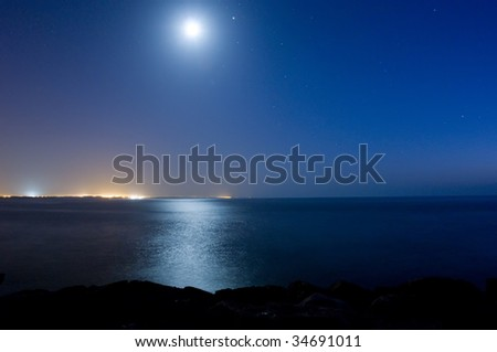 Moonlight and the sea - stock photo