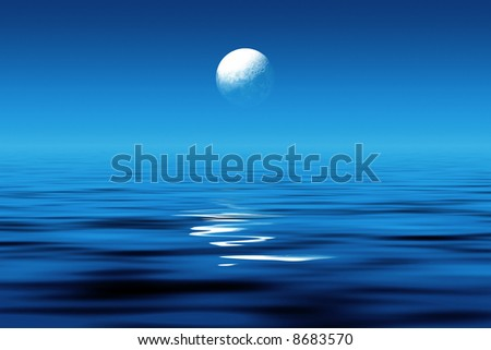 Moonlight at sea - stock photo