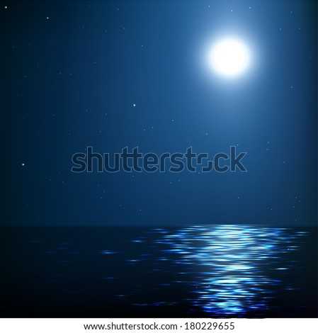 Moonlight at sea,raster version - stock photo