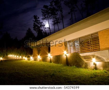 moonlight house - stock photo
