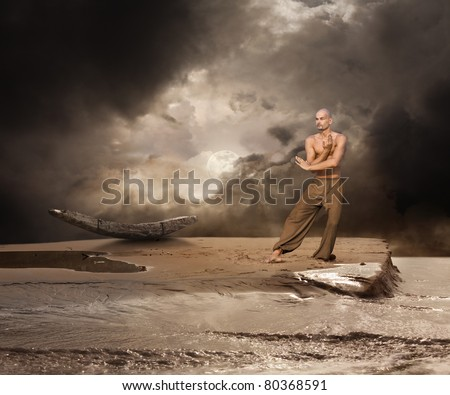 Moonlight Martial Arts Training - stock photo