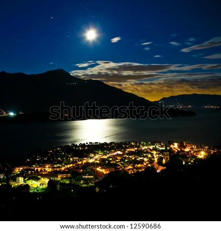 Moonlight on the Como lake 2 - stock photo