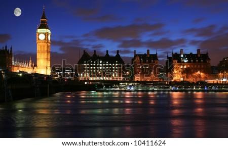 Moonlight over London - stock photo