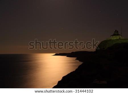 Moonlight over the Atlantic - stock photo