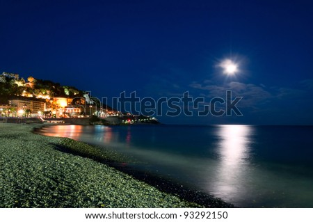 Moonlight over the sea, Nice, Cote d'Azur, France (French rivera) - stock photo