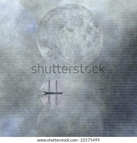 Moonlight Sailing - stock photo