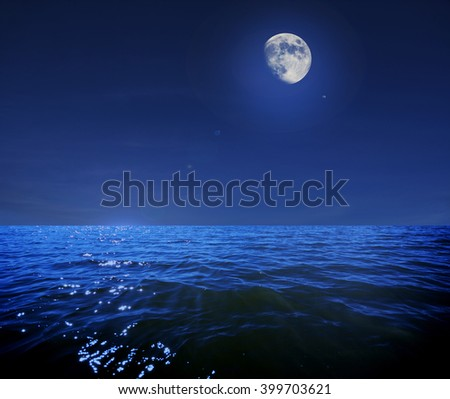 Moonlight Sea - stock photo