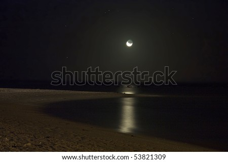Moonlit beach at night, the moonlight dimly lighting the bay