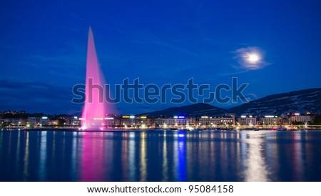 Moonlit Lake Geneva, Switzerland - stock photo
