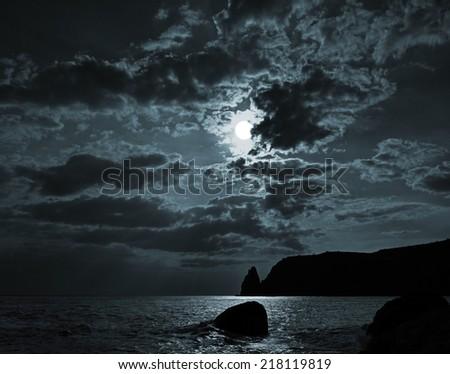 moonlit night at sea - stock photo