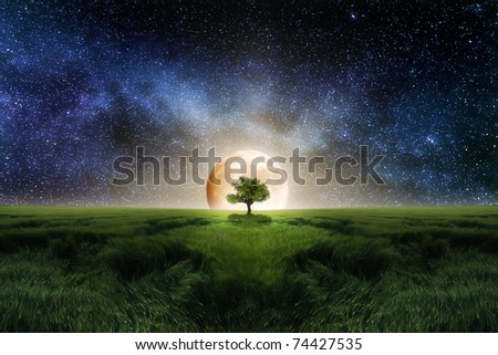 Moonrise - stock photo